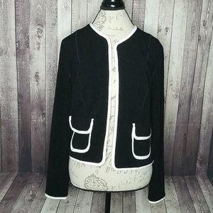 Eva Varro black & white open front textured jacket